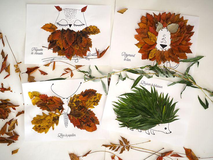 En cette période d'automne où tombent les feuilles mortes, les activités autour de celles-ci sont inépuisables. Les enfants adorent bricoler avec leurs trouvailles, alors ça tombe, bien il fait moche dehors !