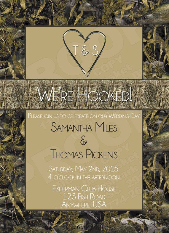 wedding printable invitation and rsvp fish hook by theinkbasket - Camouflage Wedding Invitations
