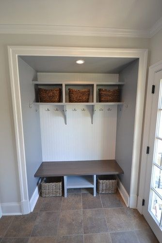 convert old closet into mud room lockers/ add children's initials into each. Their own hooks.