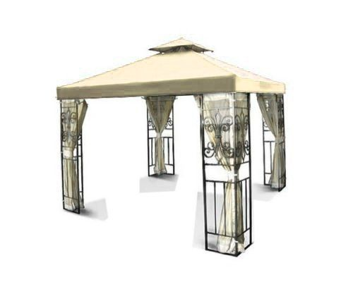 Flexzion 8x8 Gazebo Top Canopy Replacement Cover Beige  Dual Tier with Plain Edge Polyester UV30 Protection Waterproof for Outdoor Garden Patio Lawn Sun Shade * To view further for this item, visit the image link.