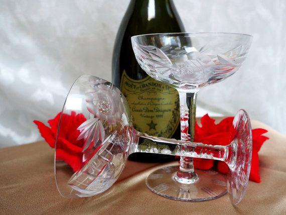 Pair of Vtg Crystal Cut Lattice & Rose by VintageMagnifique