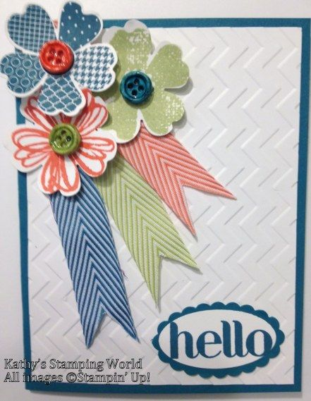 SU! Stamp Sets:  Flower Shop, Four You Colors:  Island Indigo, Calypso Coral, Pear Pizzazz, White Big Shot:  Chevron Folder Accessories:  Simply Pressed Clay, Buttons & Blossoms Simply Pressed Clay Molds, Crystal Effects, Chevron Ribbon, Large Oval Punch, Scalloped Oval Punch, Pansy Punch