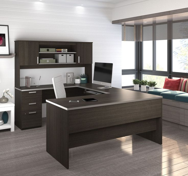 Dark Chocolate Modern U-shaped Office Desk with Brushed Nickel Accents