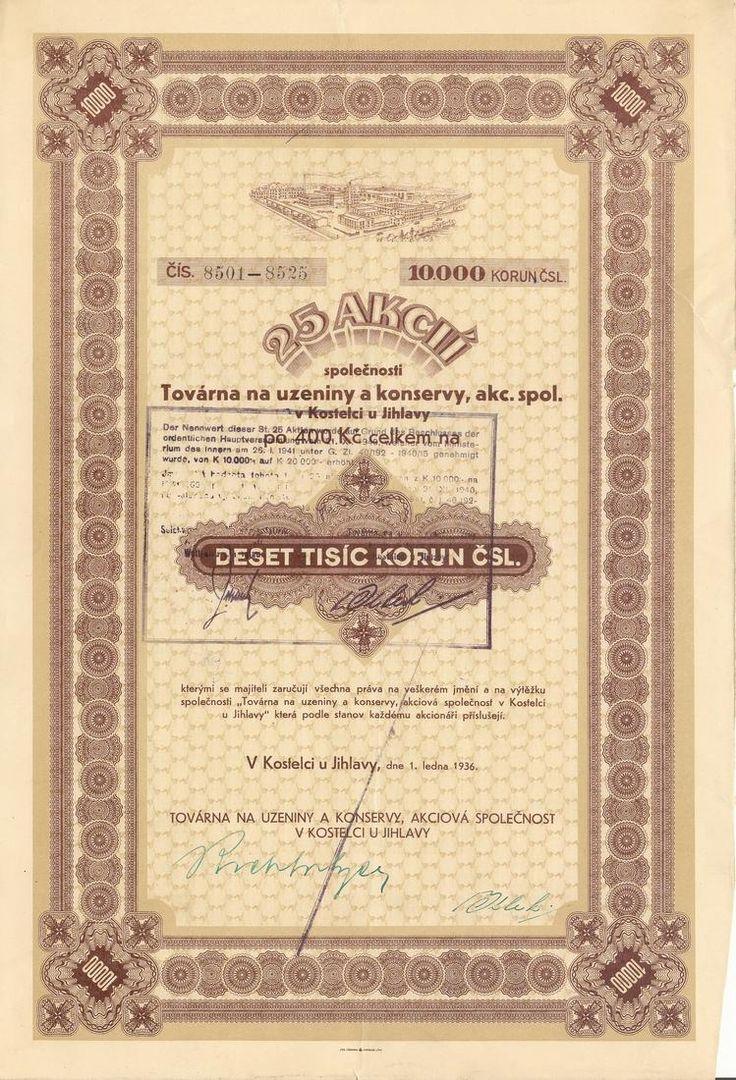 Továrna na uzeniny a konservy, akc. spol. v Kostelci u Jihlavy (Selchwaren- und Konservenfabrik AG). Akcie na 25x 400 Kč (10 000 Kč). Kostelec u Jihlavy, 1936.