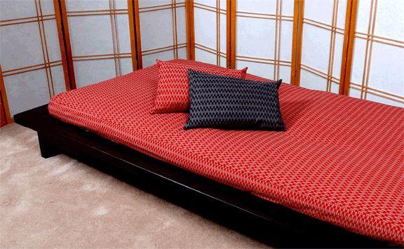 Image of J-Life Futon with Ya Gasuri Red Fabric---> Good for loft of tiny house?