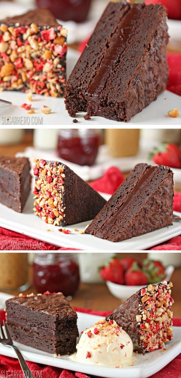 Brownie Peanut Butter & Jelly Sandwiches - two moist brownies plus two layers of rich pb&j chocolate filling! | From SugarHero.com