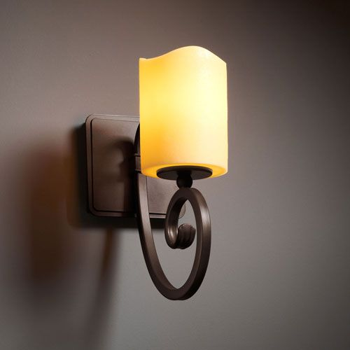 Faux Candle Sconce CandleAria Victoria Dark Bronze Wall Justice Design Group 1 Light Bath
