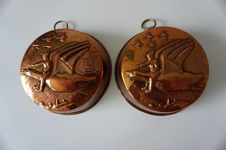 A Swedish Vintage Copper Mold with Nils Holgersson Riding His Goose. by ScandicDiscovery on Etsy