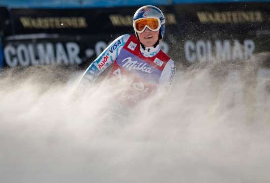 US Linsey Vonn smiles as she comes second in the women's World Cup downhill in Cortina on Jan. 24, 2... - Christophe Simon/AFP/Getty Images