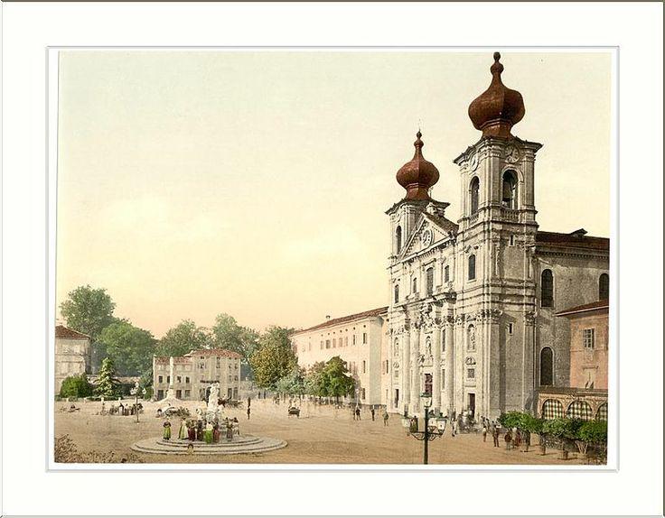 Gorizia (Austro-Hungary). Piazza Vittoria with church of Saint Ignatius 1890