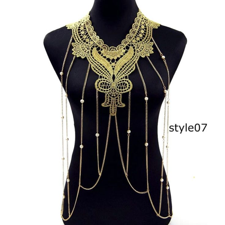 Individual Lace Flower Collar Body Chains Women Hollow-out Big Gothic Necklace #07 - Tmart