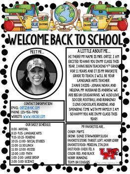 Meet The Teacher Newsletter • Meet The Teacher Letter