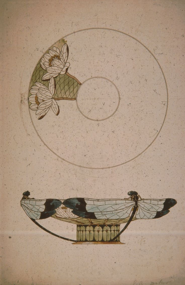 Gustav Gaudernack design (3) for Dragonfly vase in gilt silver and plique-a-jour enamel. 1908.