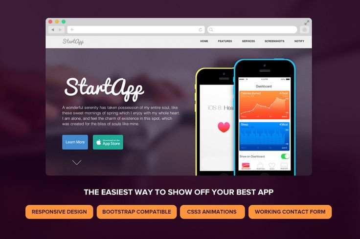 StartApp - Responsive Landing Page by SnailArt on Creative Market