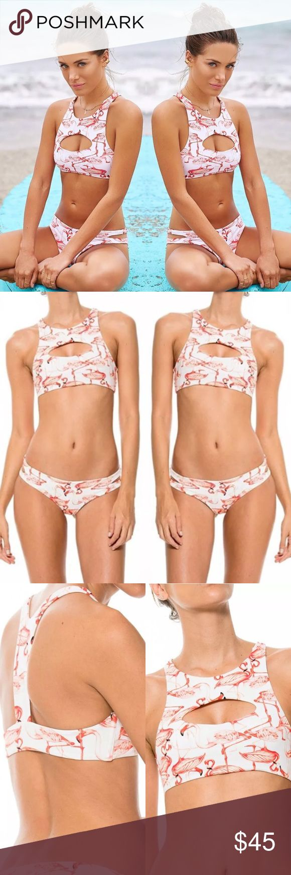 SEXY PINK FLAMINGO FESTIVAL CHEEKI BEACH BIKINI S Adorable pink flamingo print bikini with cheeky bottoms and crop top cut out style top. Really cute to wear to the beach with cut off jeans or to a fun festival. Size small. Brand new. Never worn. No tags. *NOT NASTY GAL POSTED FOR VIEWS. More modeling pics coming soon. Comment below to be tagged when new photos are up. Nasty Gal Swim Bikinis