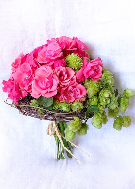Bridal bouquet in pink-green colours with roses