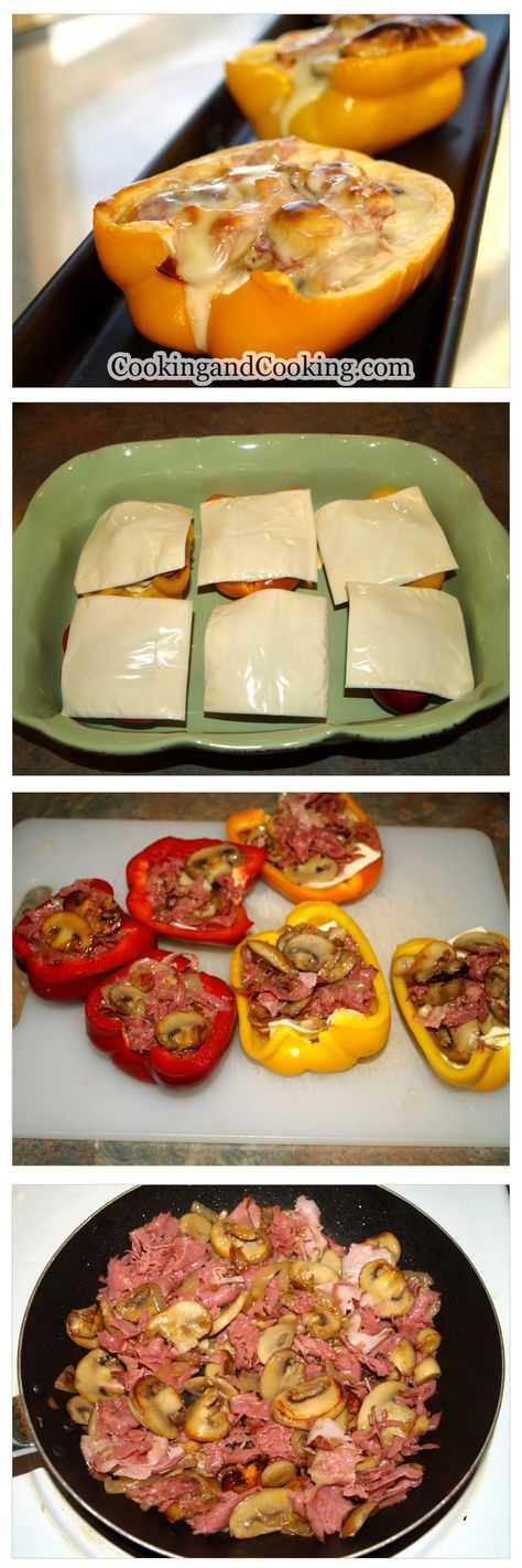 Philly Cheese Steak Stuffed Bell Peppers ~ These incredible stuffed bell peppers with thinly sliced roast beef and cheese are so tasty and so easy to make!