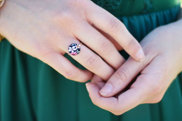 Black Floral Adjustable Silver Plated Ring, Small Garden Ring in Black from Alexandra Marie Collection, Statement Ring, Vintage Style by ScrapCati on Etsy