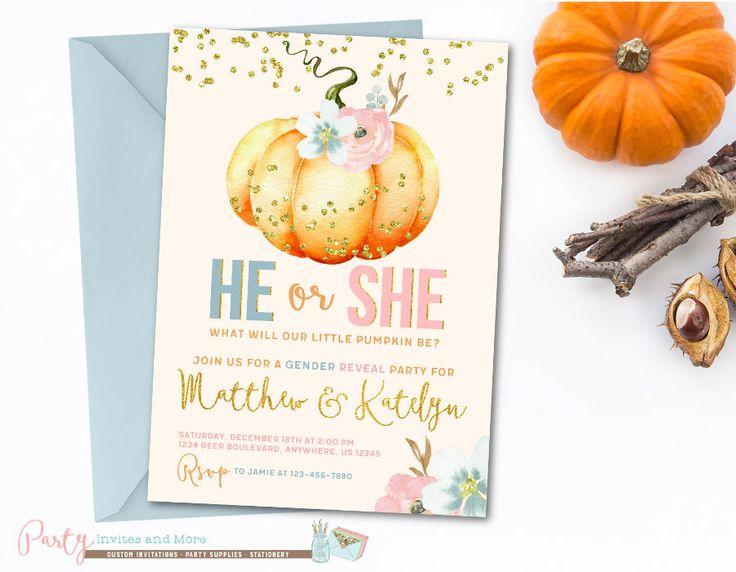 Pumpkin Gender Reveal Invitation, Pumpkin Invitation, Pumpkin Baby Shower Invitation, Fall Gender Reveal Invitation, Gender Reveal by PartyInvitesAndMore on Etsy https://www.etsy.com/listing/533762320/pumpkin-gender-reveal-invitation-pumpkin