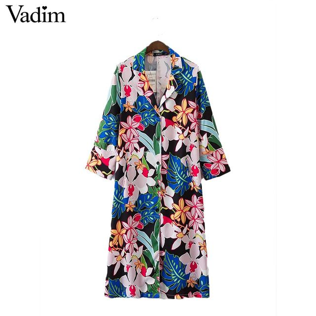 Vadim women elegant floral long shirt dress pockets long sleeve turn down collar blouses pockets casual tops blusas LT1950