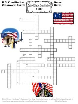 constitution day activities us constitution worksheets crossword puzzle activities. Black Bedroom Furniture Sets. Home Design Ideas