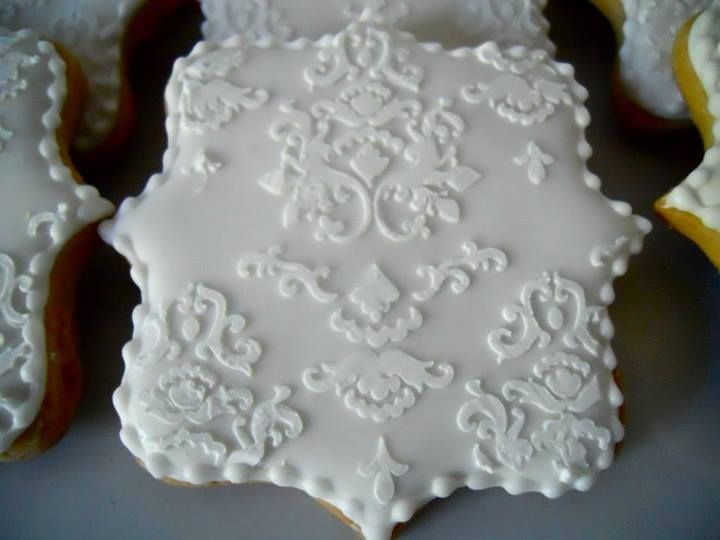 Wedding cookies - stencil is from Cookie Countess