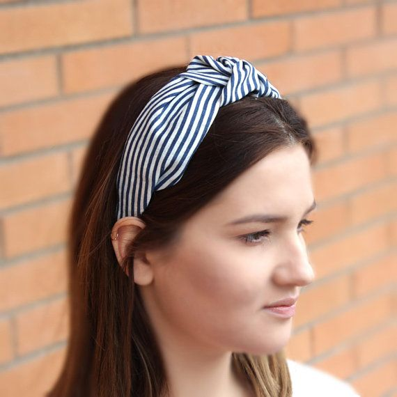 197c36dcf2d00 Navy Striped Knotted Headband Nautical Style Mariner Stripe Top knot ...