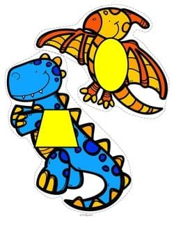 Dinosaurs 12 shapes for recognition, vocabulary and matching.  MEMBERS