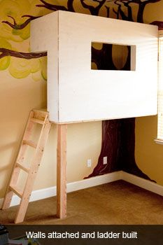 Build an indoor treehouse, step by step.
