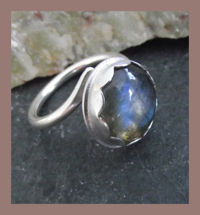 Sterling Silver and Labradorite Ring - adjustable - freesize £30.00