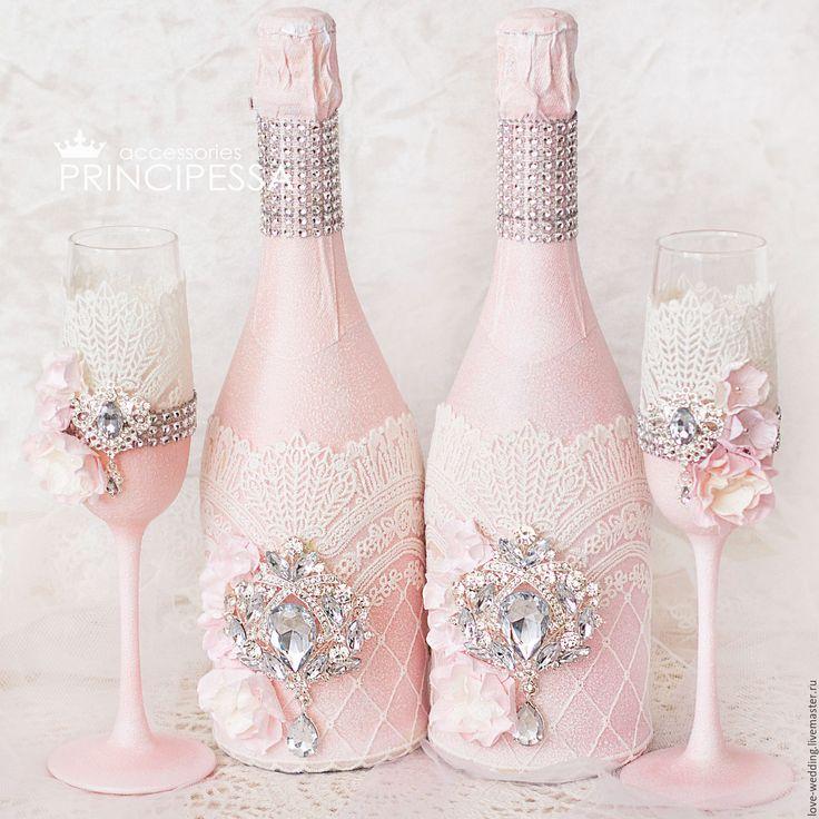 """Купить """"Пудра"""" бокалы свадебные - кремовый, аксессуары, Аксессуары handmade, аксессуары для фотосессий"""