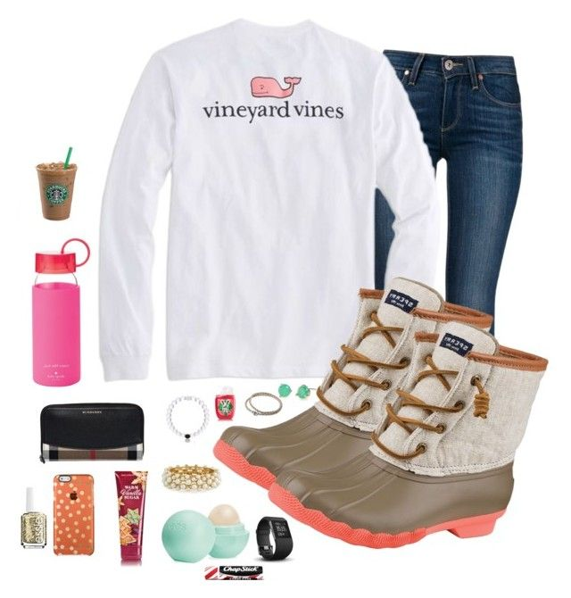 """""""Love the duck boots"""" by prepallday ❤ liked on Polyvore featuring Paige Denim, Vineyard Vines, Sperry Top-Sider, Burberry, Kate Spade, R.J. Graziano, Eos, Fitbit, Essie and Pandora"""