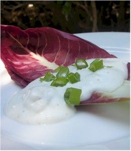 This combination of Maytag Blue cheese, mayonnaise and sour cream and fresh lemon juice makes a flavorful salad dressing or dip for vegetables. This is a low-carb friendly recipe.