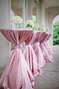 Satin pink cocktail tables #wedding #reception #decor www.CharmingGraceEvents.com