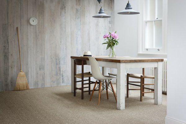 teppich design sisal stoff beige besen esstisch