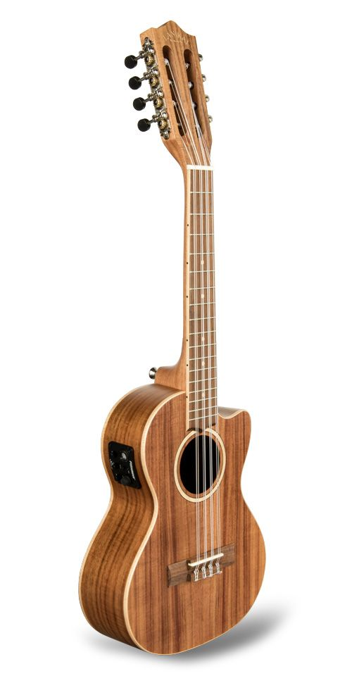 Features Good quality chrome open back tuners for tuning accuracy and a light headstock for player comfort Bone nut and saddle for maximum sustain and best tone Wide nut and neck profile for player comfort Chrome Strap Buttons for safety and comfort Acacia is a beautifully grained wood that captures a traditional ukulele tone and look. Cutaway with a Fishman® Kula preamp and tuner Single-Ply Natural Maple fingerboard binding / black dots Aquila® string...