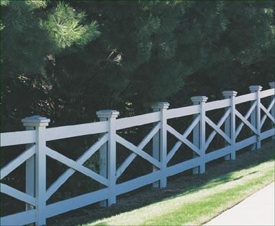 "Kentucky - A handcrafted fence with rhythmic diagonals and our Colonial post caps sets this sturdy fence apart. Smooth 3 1/2"" x 7 1/2"" posts, with covering boards, 1"" x 5 1/2"" rails and 1"" x 3"" diagonals have nail on installation."
