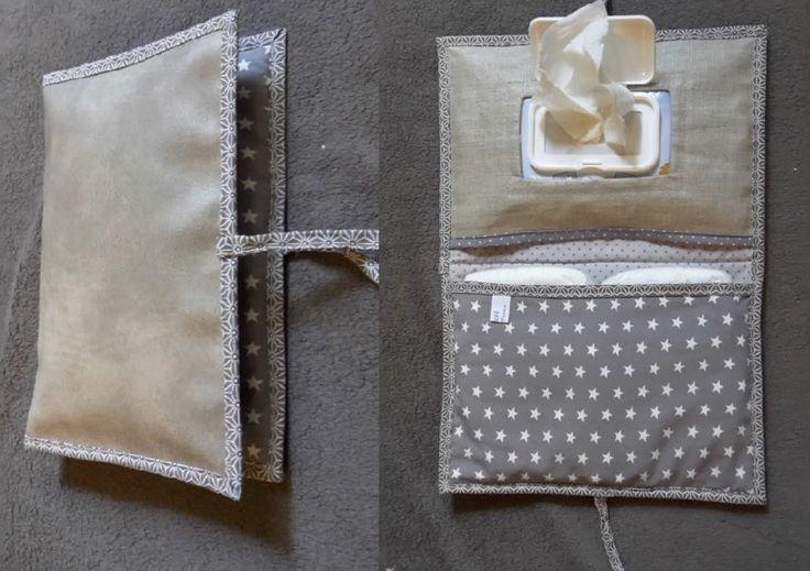 Pochette à couches et lingettes imitation cuir patiné taupe Cadeau de naissance original : Puériculture par lilifiori