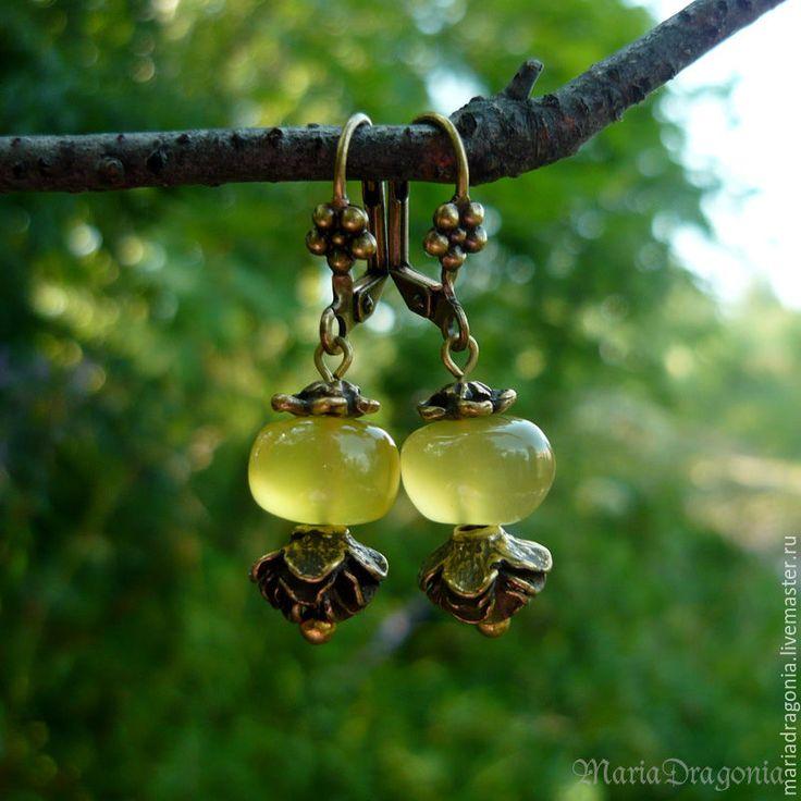 Купить Серьги с медово-жёлтым халцедоном (натуральные камни, античная латунь) - желтый, Медовый