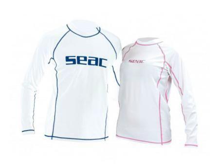 SEAC SUB Футболка seac из лайкры с длинными рукавами, белая/розовая прострочка, женская