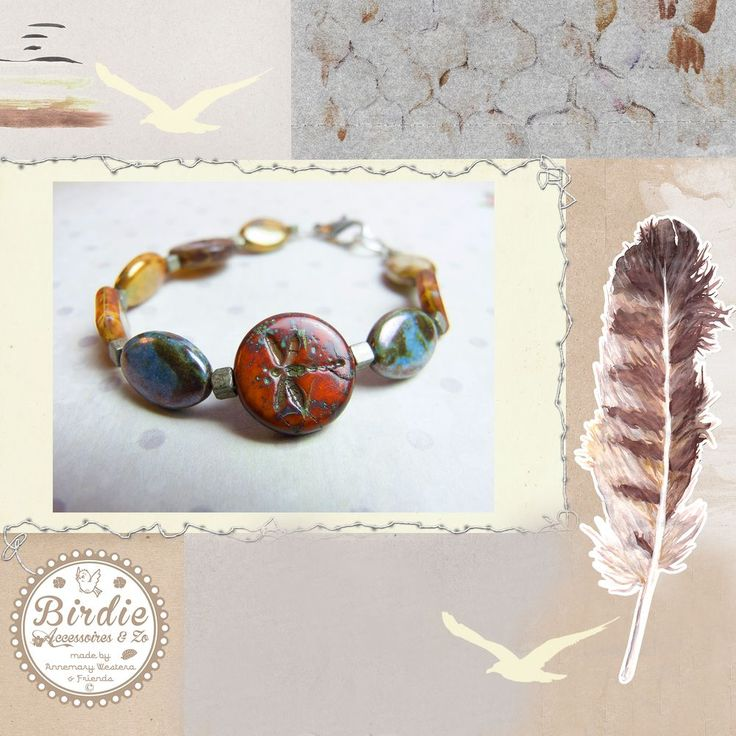 Diepe aarde tinten armband nature, libelle, travertijn, Tsjechisch glas via Birdie By AnneMary Westera
