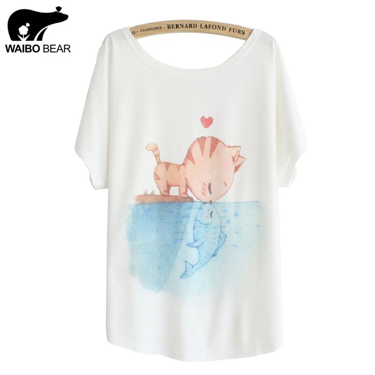 [Magic] New summer T shirt women style thin plus size loose batwing sleeve women's T-shirt cat kiss Fish print Top Tees WOW http://www.lady-fashion.net/product/magic-new-2016-summer-t-shirt-women-style-thin-plus-size-loose-batwing-sleeve-womens-t-shirt-cat-kiss-fish-print-top-tees/ #shop #beauty #Woman's fashion #Products