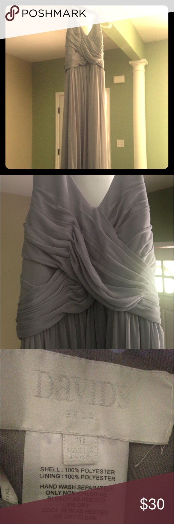"""Bridesmaid dress Worn once and cleaned. Size 10 but altered for a 5'4"""" 130 pound girl. Gray color David's Bridal Dresses Wedding"""
