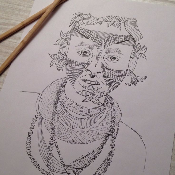 My drawing, Tribal 013, portrait of a man. You like my picture ?