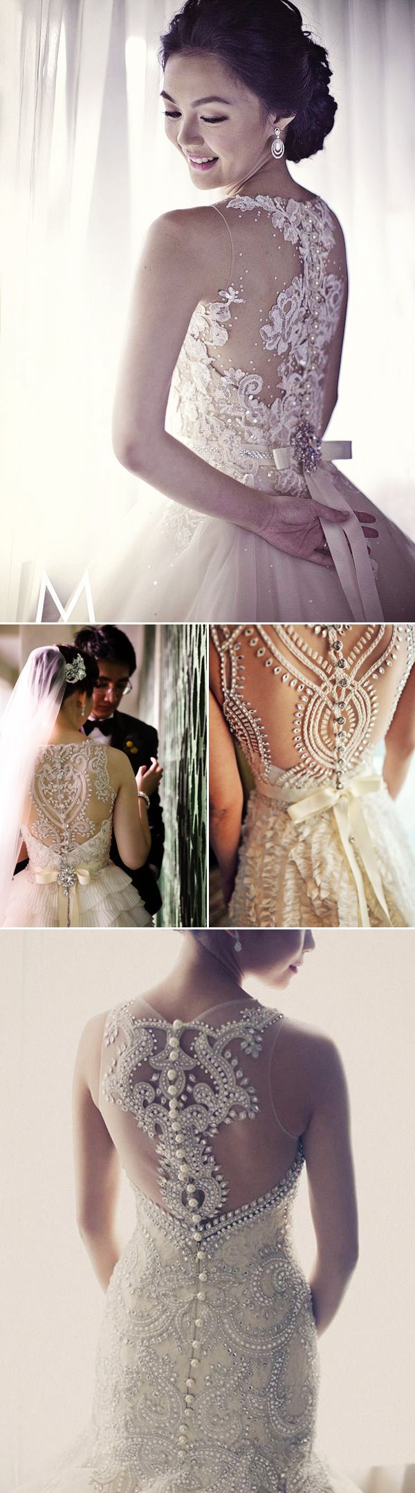 38 Stunning Lace Back Wedding Dresses - Veluz Reyes. Middle one is gorgeous, without buttons for me though