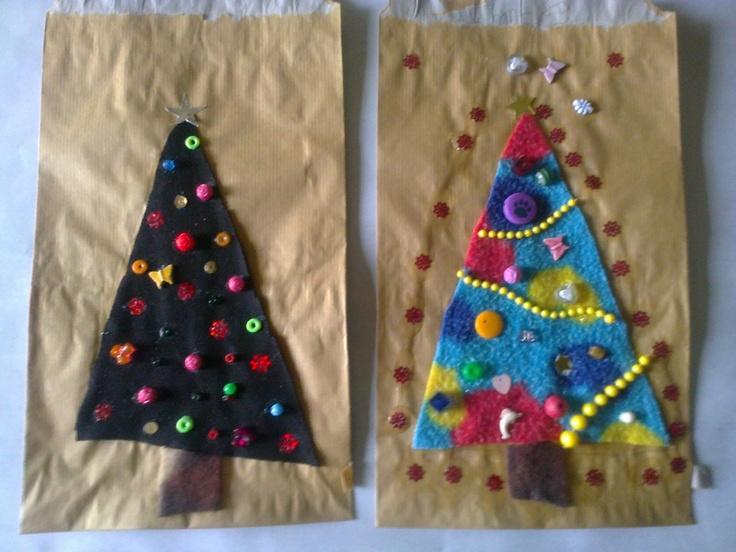 Homemade christmas giftbags:  Brownpaper bags, Fleece triangles, beads & sequince, cold glue