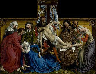 AutorRogier van der Weyden Rok wykonaniaok. 1435 Technika wykonaniaolej na desce Rozmiar220 × 262 cm MuzeumPrado  Zdjęcie z krzyża - przykład późnogotyckiego malarstwa tablicowego w Niderlandach, dzieło jednego z głównych reprezentantów gotyckiego realizmu - Rogiera van der Weyden. Obecnie znajduje się w zbiorach Muzeum Prado w Madrycie.