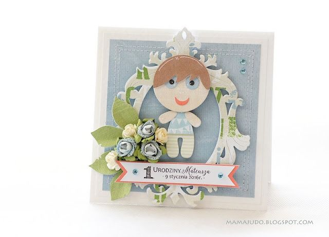 The first birthday is a very important event. On this occasion for the little Matthew I did such a card, so that he may rejoice it. At the same time it can be the pride of the room when it is put on the shelf above the bed. [Mamajudo]