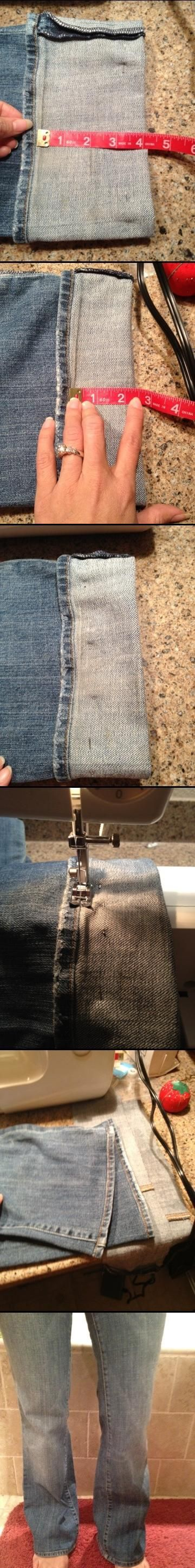 Hem Jeans, Keeping Original Hem, by Refashion Mama.
