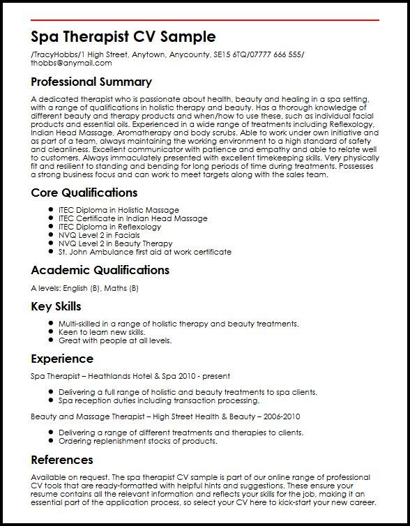 Cv Template Therapist 1 Cv Template Sample Resume